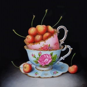 (CreativeWork) White Cherries and vintage teacups - Still life oil painting by Natasha Junmanee. oil-painting. Shop online at Bluethumb.