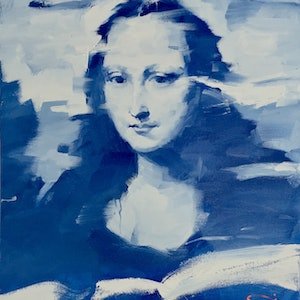 (CreativeWork) Mona In Blue by LI ZHOU. oil-painting. Shop online at Bluethumb.
