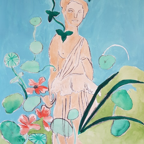 (CreativeWork) Lady in the garden with flowers by Louise Hamill. Mixed Media. Shop online at Bluethumb.