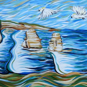 (CreativeWork) Cockatoos over the Apostles by Lisa Fahey. arcylic-painting. Shop online at Bluethumb.