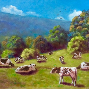 """(CreativeWork) """"CONTENTED COWS"""" by Toni Lucas. arcylic-painting. Shop online at Bluethumb."""