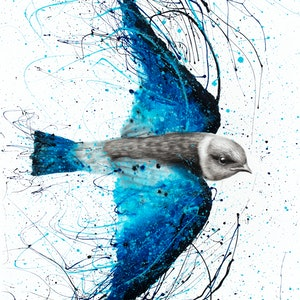 (CreativeWork) Blue Bird Listener by Ashvin Harrison. arcylic-painting. Shop online at Bluethumb.
