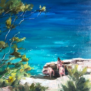 (CreativeWork) Summertime frolics. by Vivi Palegeorge. oil-painting. Shop online at Bluethumb.