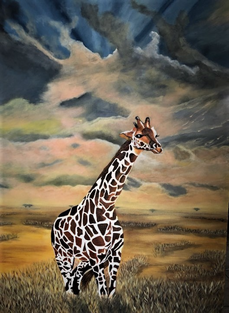 (CreativeWork) GIRAFFE by Donna Parker. arcylic-painting. Shop online at Bluethumb.