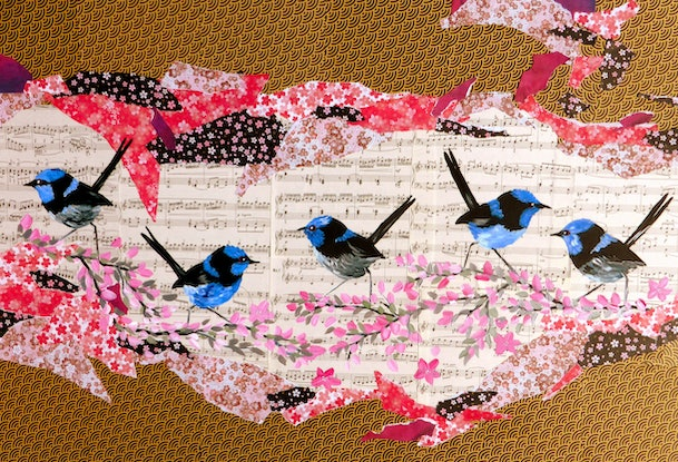 Origami Paper Pigeon With With Musical Notes. Theme To Use For ... | 415x609
