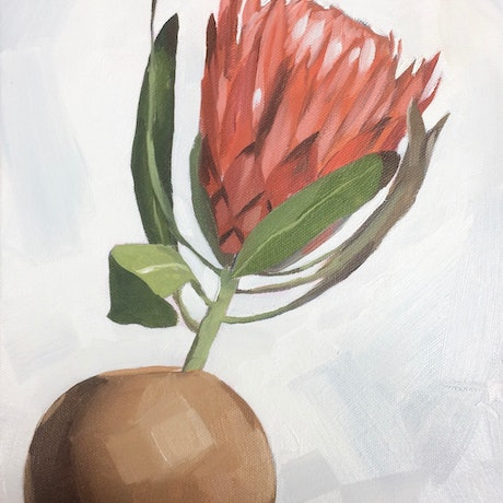 (CreativeWork) Protea Study #1 by Tom Parsons. Oil Paint. Shop online at Bluethumb.