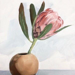 (CreativeWork) Protea Study #2 by Tom Parsons. oil-painting. Shop online at Bluethumb.