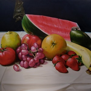 (CreativeWork) The Fruit Bats by Warren Lane. oil-painting. Shop online at Bluethumb.