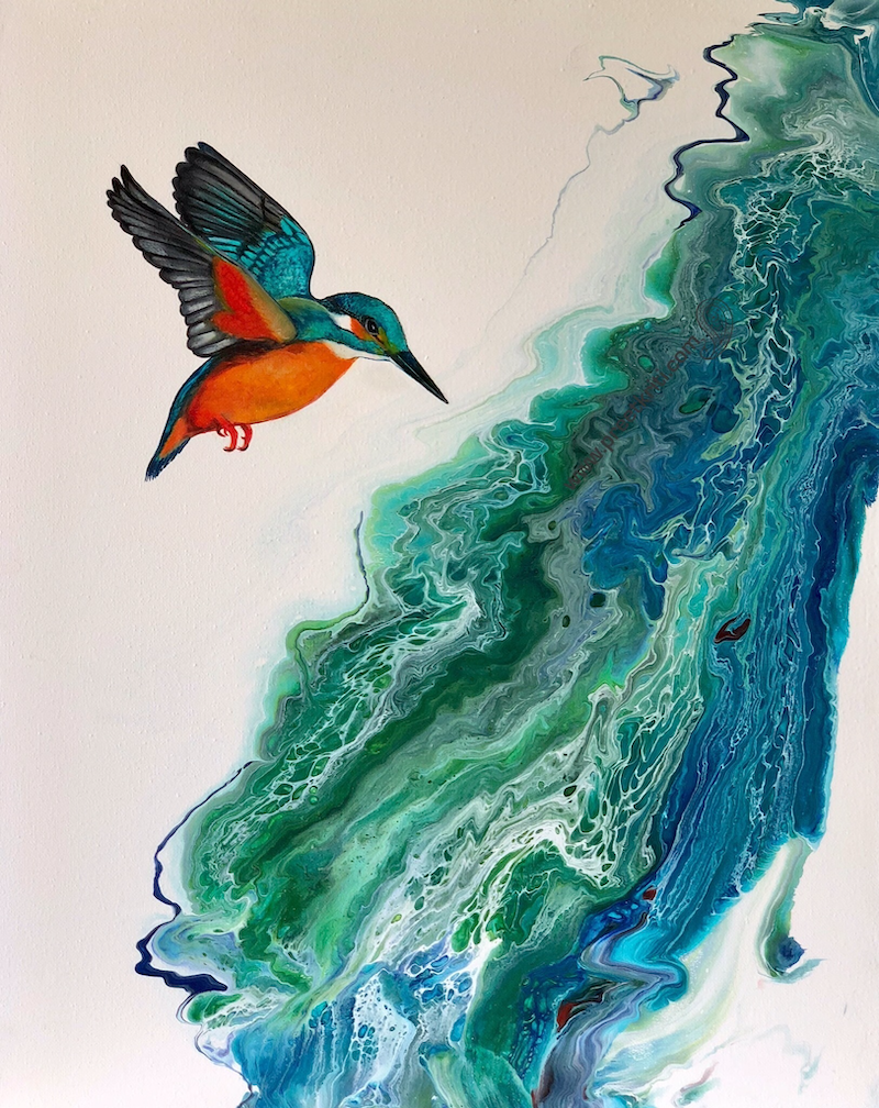(CreativeWork) Taking A Plunge - Kingfisher   by Pratibha Madan. mixed-media. Shop online at Bluethumb.