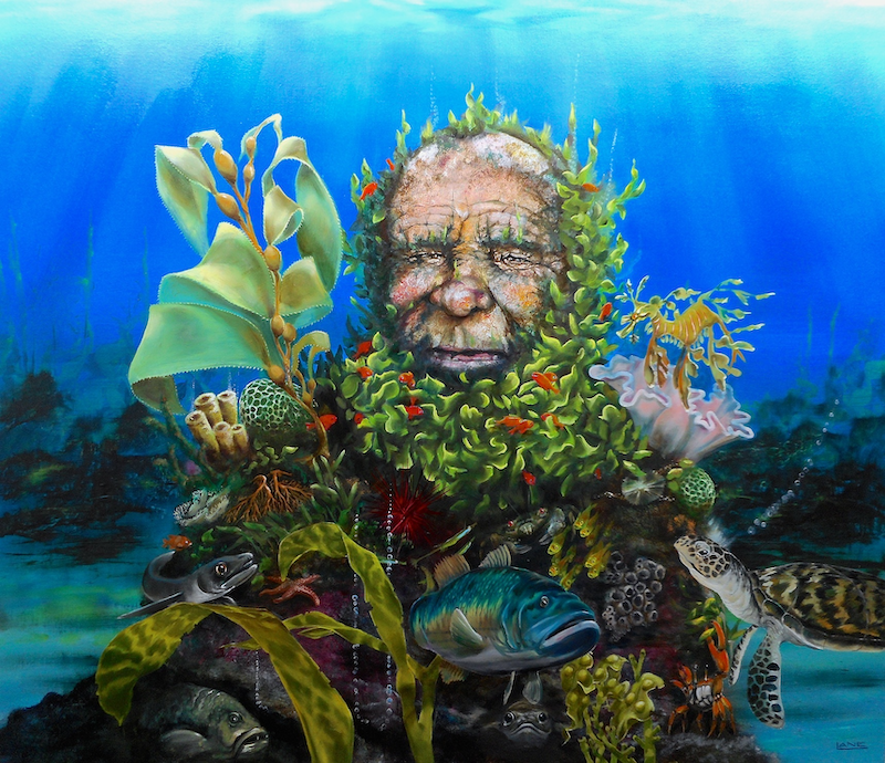 (CreativeWork) Merman by Warren Lane. Oil Paint. Shop online at Bluethumb.