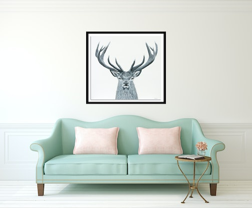 (CreativeWork) Mr Majestic- Original Painting of Black and White Deer by Johanna Larkin. Acrylic Paint. Shop online at Bluethumb.