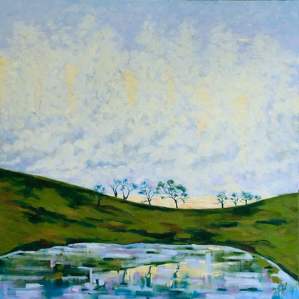 (CreativeWork) Morning Mists  by Judi Parkinson. oil-painting. Shop online at Bluethumb.