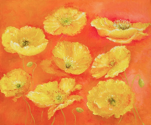 (CreativeWork) YELLOW POPPIES by Jan Matson. Oil Paint. Shop online at Bluethumb.