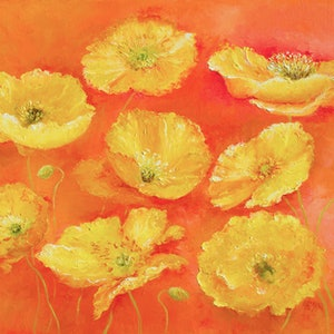 (CreativeWork) YELLOW POPPIES by Jan Matson. oil-painting. Shop online at Bluethumb.
