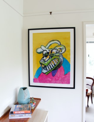 (CreativeWork) Bully in a Pink and Blue Sweater by Joel Cunningham. Mixed Media. Shop online at Bluethumb.