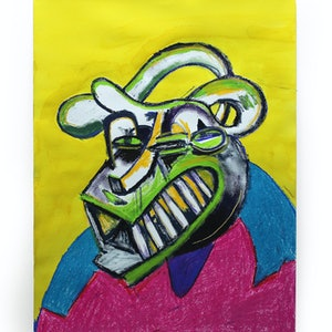 (CreativeWork) Bully in a Pink and Blue Sweater by Joel Cunningham. mixed-media. Shop online at Bluethumb.