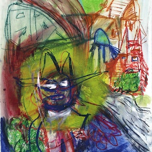 (CreativeWork) Devil in the Headlights by Joel Cunningham. mixed-media. Shop online at Bluethumb.