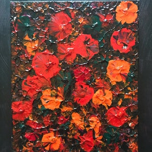 """(CreativeWork) """"Orange Red Flowers"""" by kelly mathews. mixed-media. Shop online at Bluethumb."""