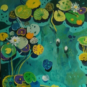 (CreativeWork) Pond Life # 2 by Susan Trudinger. arcylic-painting. Shop online at Bluethumb.