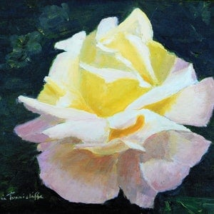 (CreativeWork) Peace rose by Robin Tunnicliffe. oil-painting. Shop online at Bluethumb.