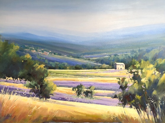 (CreativeWork) Summertime in Provence. by Vivi Palegeorge. Oil Paint. Shop online at Bluethumb.