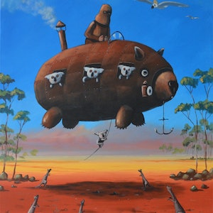 (CreativeWork) Ned Kelly and flying wombat by Max Horst  Sokolowski. arcylic-painting. Shop online at Bluethumb.