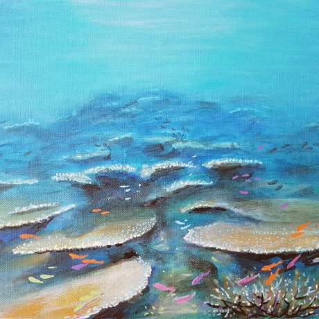 (CreativeWork) Blue corals by Eugene Rubuls. Acrylic Paint. Shop online at Bluethumb.