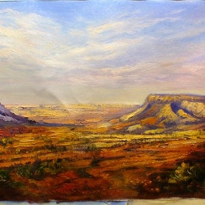 (CreativeWork) The Breakaways, Coober Pedy, SA - Australian Outback by Christopher Vidal. oil-painting. Shop online at Bluethumb.