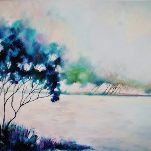(CreativeWork) Windblown by Cindy Glyde. oil-painting. Shop online at Bluethumb.