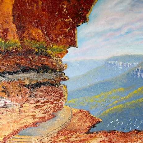 (CreativeWork) Sunset Over Wentworth Falls/Blue Mountains  by Kit McNeill. Oil Paint. Shop online at Bluethumb.