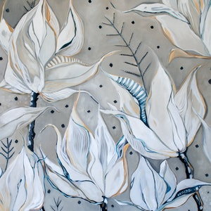 (CreativeWork) White Flowers and Confetti by Sam Suttie. oil-painting. Shop online at Bluethumb.