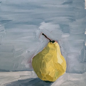 (CreativeWork) Pear - grey by Jac Reynolds. arcylic-painting. Shop online at Bluethumb.