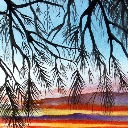 (CreativeWork) Sunset (Framed) by Linda Callaghan. Watercolour Paint. Shop online at Bluethumb.