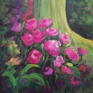 (CreativeWork) In the Garden by Jenny Moynahan. arcylic-painting. Shop online at Bluethumb.