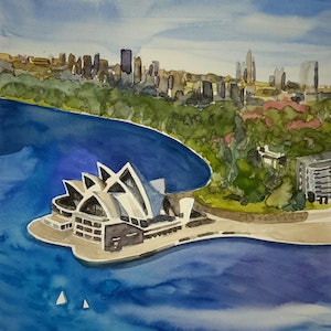 (CreativeWork) Sydney OPERA HOUSE AUSTRALIA by Lise Staff. watercolour. Shop online at Bluethumb.