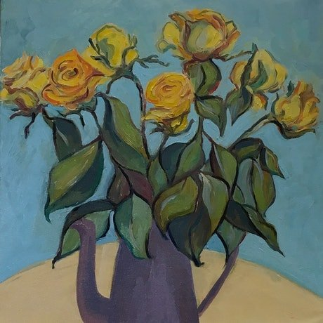 (CreativeWork) Yellow  roses in purple teapot by Eva Miller. Oil Paint. Shop online at Bluethumb.