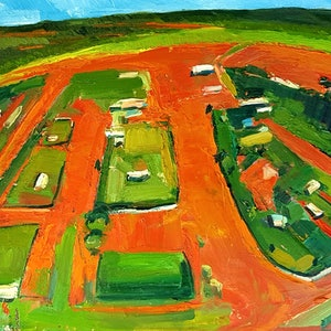 (CreativeWork) Yuendumu Community  by Timothy Dell. oil-painting. Shop online at Bluethumb.