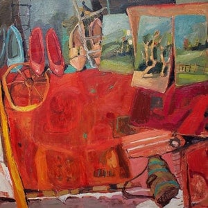 (CreativeWork) Junk Room by Joanna Gambotto. oil-painting. Shop online at Bluethumb.