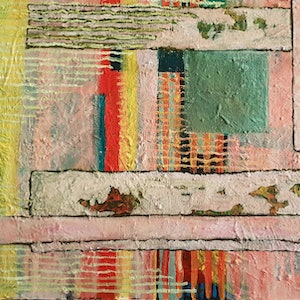(CreativeWork) Rough patches by Rosalie Rigby. arcylic-painting. Shop online at Bluethumb.