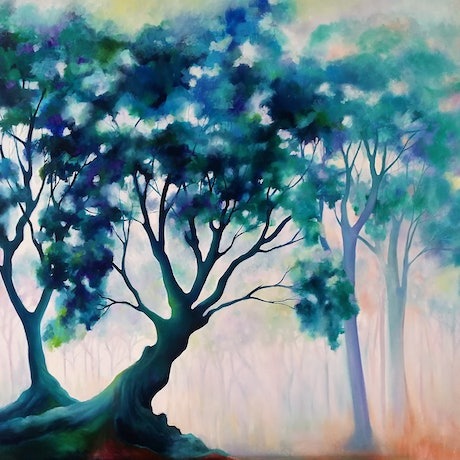 (CreativeWork) Fairytale Forest by L E Glyde. Oil Paint. Shop online at Bluethumb.