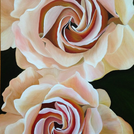 (CreativeWork) Rose Swirl by Sharon Lagden. Acrylic Paint. Shop online at Bluethumb.