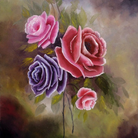 (CreativeWork) Roses Spring Bouquet by Debra Dickson. Oil Paint. Shop online at Bluethumb.
