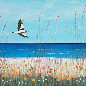 (CreativeWork) Magpie At The Beach by Barry Johnson. mixed-media. Shop online at Bluethumb.
