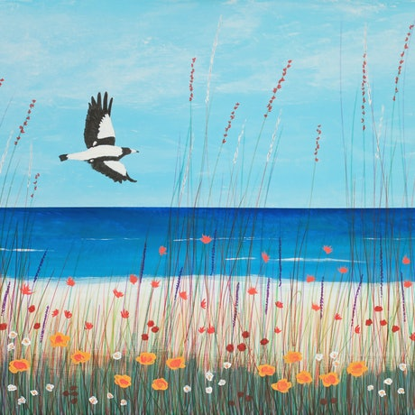 (CreativeWork) Magpie At The Beach by Barry Johnson. Mixed Media. Shop online at Bluethumb.
