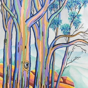 (CreativeWork) POLYCHROME EUCALYPTI 13 by Saadah Kent. arcylic-painting. Shop online at Bluethumb.