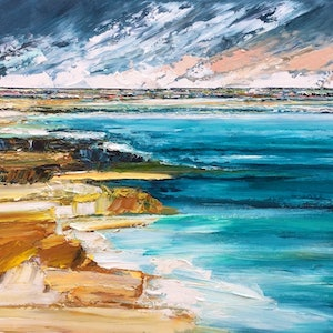 (CreativeWork) Ocean Stories by Katie Wyatt. arcylic-painting. Shop online at Bluethumb.