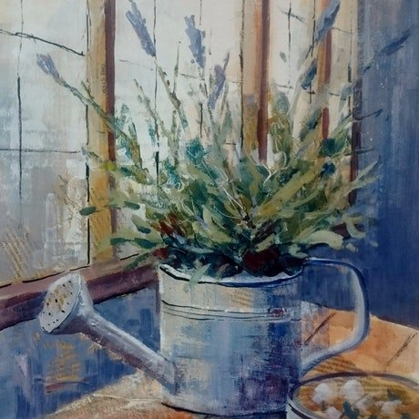 (CreativeWork) Still life with lavender. by Vivi Palegeorge. Mixed Media. Shop online at Bluethumb.