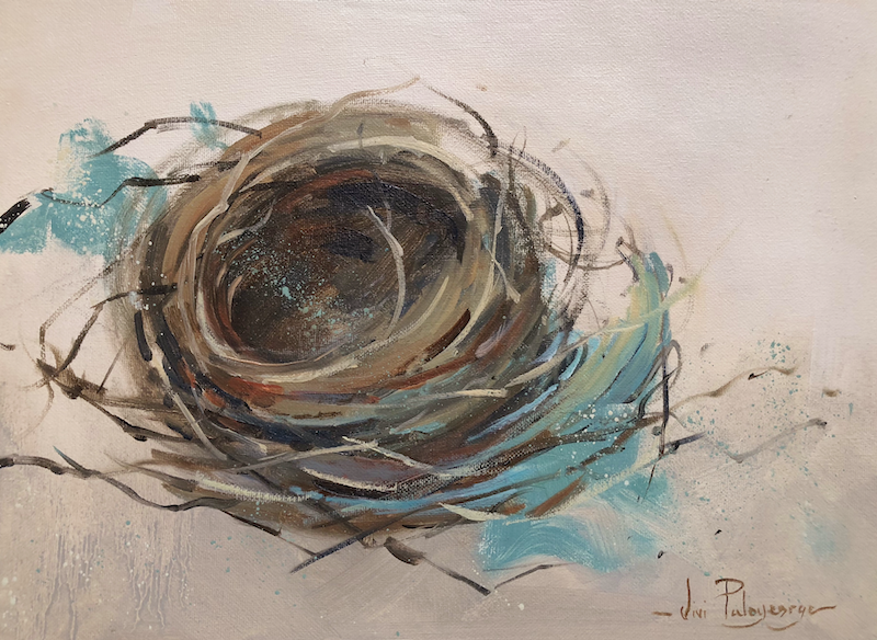 (CreativeWork) The empty nest. by Vivi Palegeorge. oil-painting. Shop online at Bluethumb.