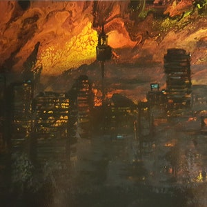 (CreativeWork) Sydney Dust  Storm by Sheryl Anderson. mixed-media. Shop online at Bluethumb.