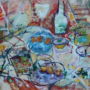 (CreativeWork) FRIENDS OVER FOR LUNCH by Maureen Finck. oil-painting. Shop online at Bluethumb.
